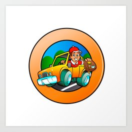 Cartoon man in delivery car Art Print