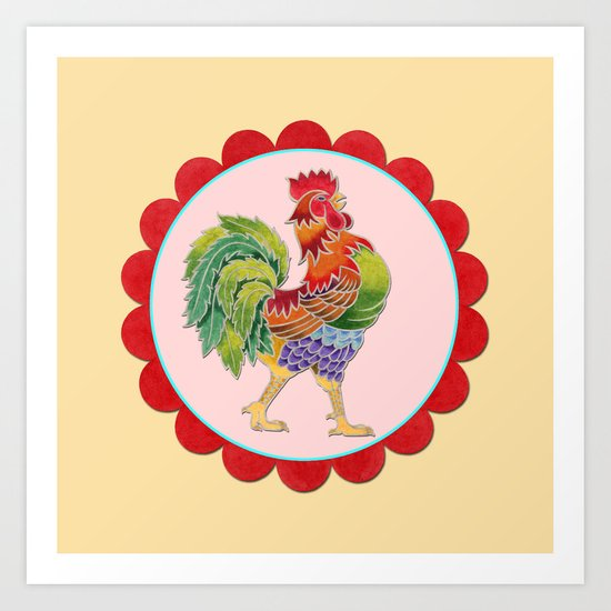 Happy Rainbow Rooster Art Print