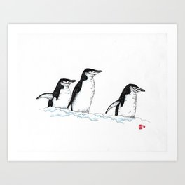 Chinstrap Penguin Trio Art Print