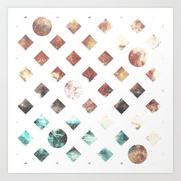 Squares and circles colored Art Print