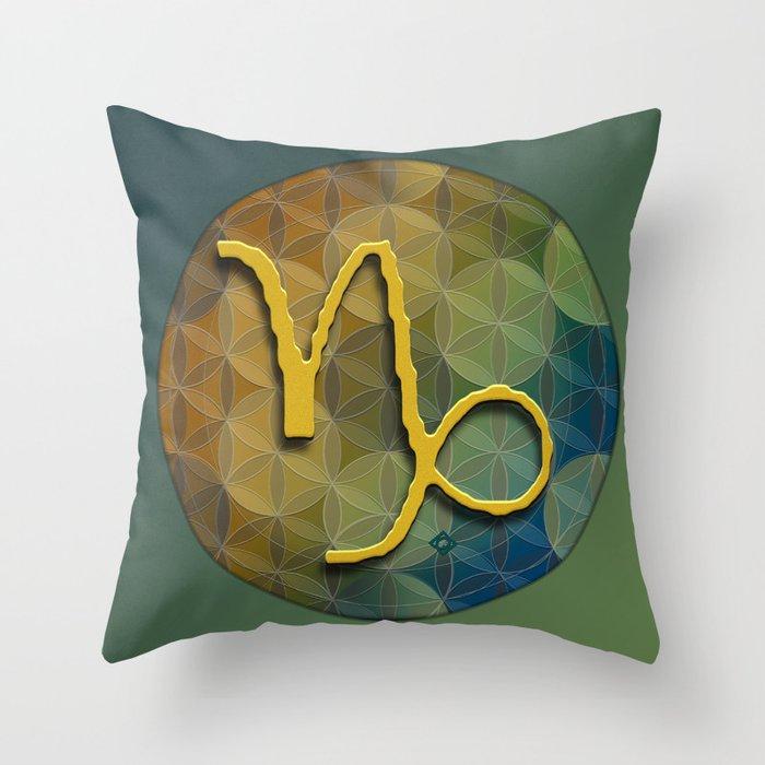 CAPRICORN Flower of Lie Astrology Design Throw Pillow