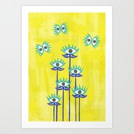 Evil Eye Nazar protective Garden Yellow Art Print