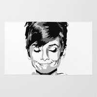 audrey hepburn Area & Throw Rugs featuring Audrey Hepburn by Geryes