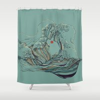 huebucket Shower Curtains featuring Kissing The Wave by Huebucket