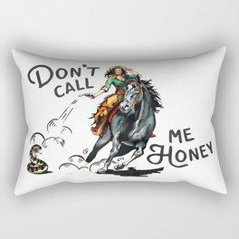 """Don't Call Me Honey"" Cowgirl On Horseback Shooting a Rattlesnake Rectangular Pillow"