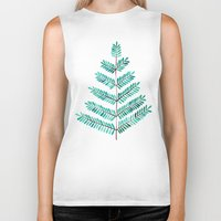 turquoise Biker Tanks featuring Turquoise Leaflets by Cat Coquillette