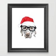 Christmas Weimaraner Framed Art Print