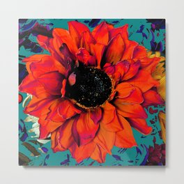 Orange Sunflower & Teal Contemporary Abstract Metal Print