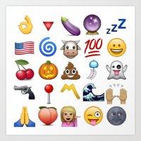 emoji Art Prints featuring Emoji  by rivercbishop