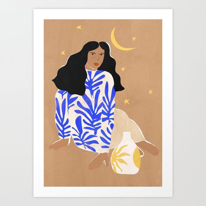 Blue Florals Art Print