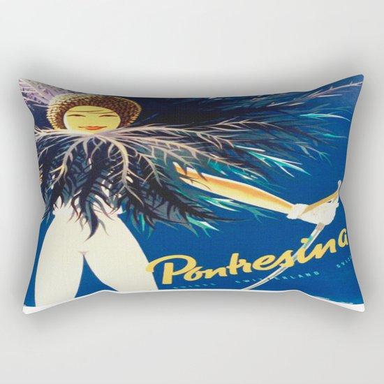 Vintage Travel Pontresina Switzerland Rectangular Pillow