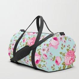 Modern neon pink teal roses hortensia floral Duffle Bag