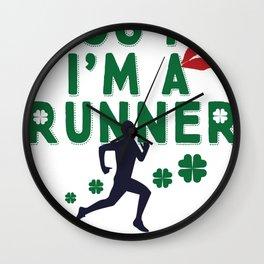 Kiss Me I'm A Runner Cute and Funny Irish Clover Wall Clock