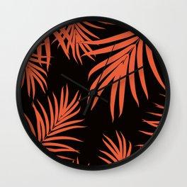 Palm Leaves Pattern Orange Vibes #1 #tropical #decor #art #society6 Wall Clock