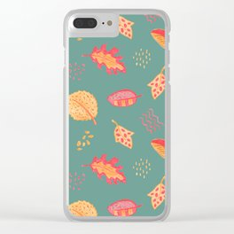 Yellow Autumn Leaves On Blue, Vintage Crayon Drawing Clear iPhone Case