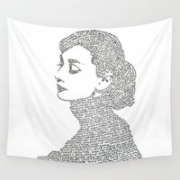 audrey hepburn Wall Tapestries featuring Audrey Hepburn by S. L. Fina