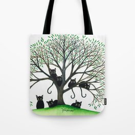 Borders Whimsical Cats in Tree Tote Bag