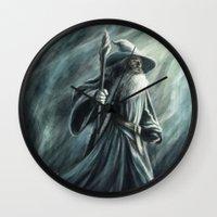 gandalf Wall Clocks featuring Gandalf by Svenja Gosen