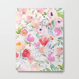 Beautiful Spring Watercolor Floral Painting Light Transparent Floral Kingdom Metal Print