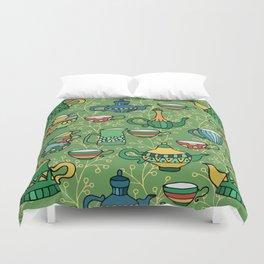 Tea green pattern Duvet Cover