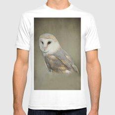 Barn Owl MEDIUM White Mens Fitted Tee