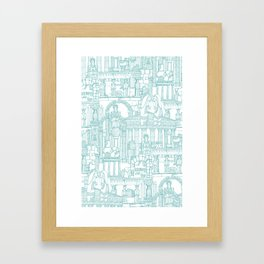 Ancient Greece teal white Framed Art Print