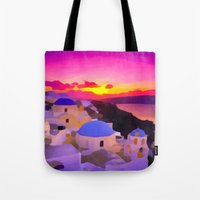 greece Tote Bags featuring Greece  by Xchange Art Studio