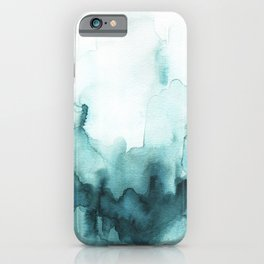 Soft teal abstract watercolor iPhone Case