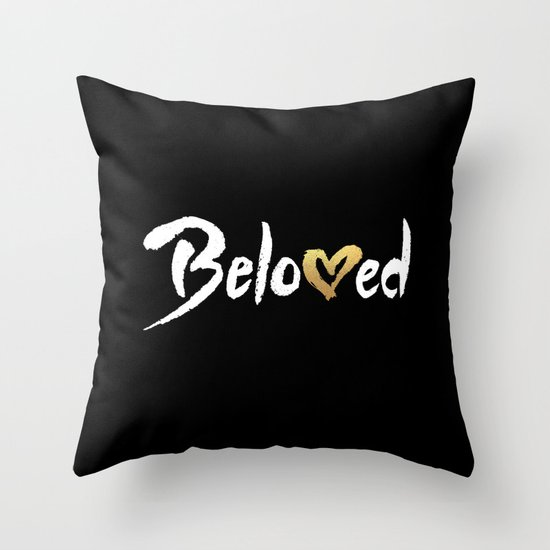 White Gold Throw Pillow : Beloved - White & Gold Throw Pillow by Fuzzy Leaf Society6