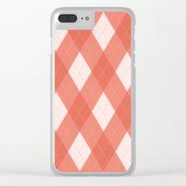 Pantone Living Coral Argyle Plaid, Diamond Pattern Clear iPhone Case