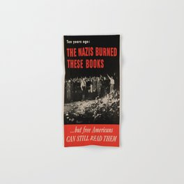 Vintage poster - Burned Books Hand & Bath Towel