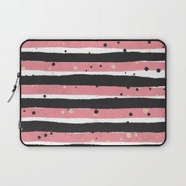 Modern pink black white watercolor splatters stripes Laptop Sleeve