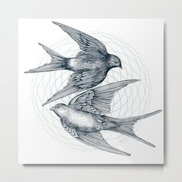 Two Swallows Metal Print