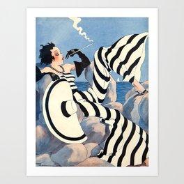French Art Deco Woman Art Print
