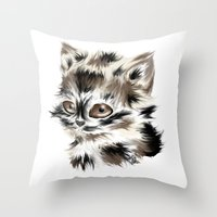 kitty Throw Pillows featuring Kitty by quackso