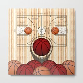 Colorful Red basketballs on a Basketball Court Metal Print
