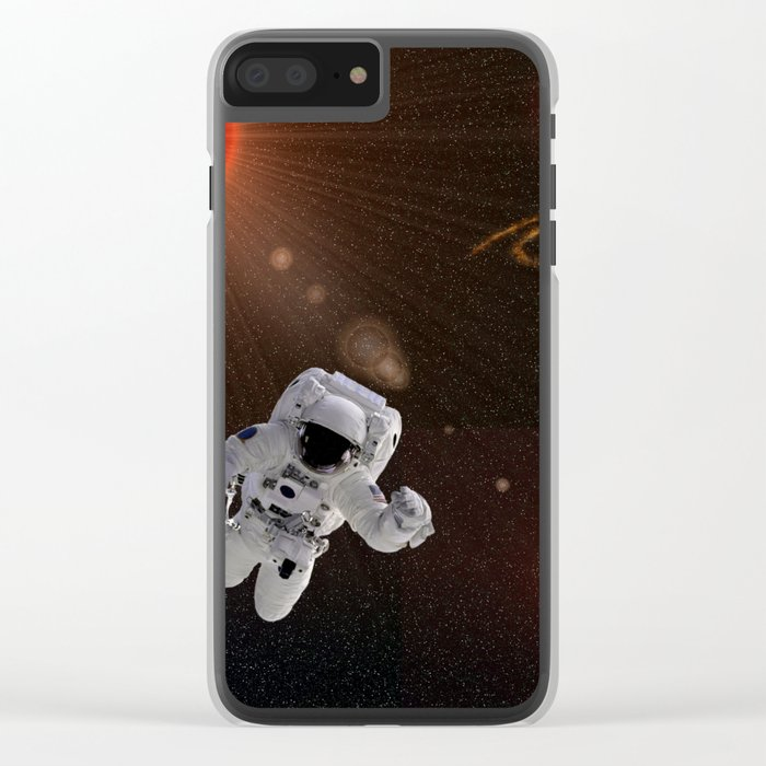 Astronaut Sun Stars Clear iPhone Case
