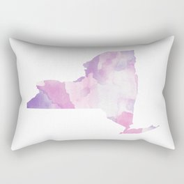 Watercolor State Map - New York NY purples Rectangular Pillow