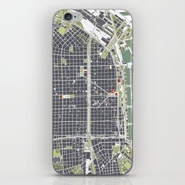 Buenos aires city map engraving iPhone Skin