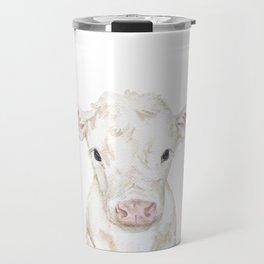 Baby White Cow Calf Watercolor Farm Animal Travel Mug