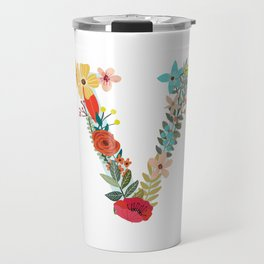 Monogram Letter V Travel Mug