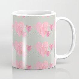 Pink Hearts on Gray Coffee Mug