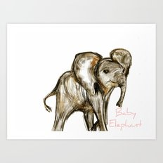 Baby Elephant Pink Art Print