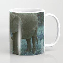 African Elephant Family Drinking in Blue Coffee Mug