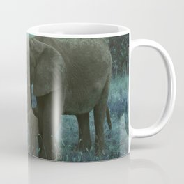 African Elephant Family Drinking in Blue Coffee Mug