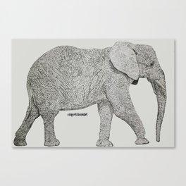 Pointillism Elephant Canvas Print