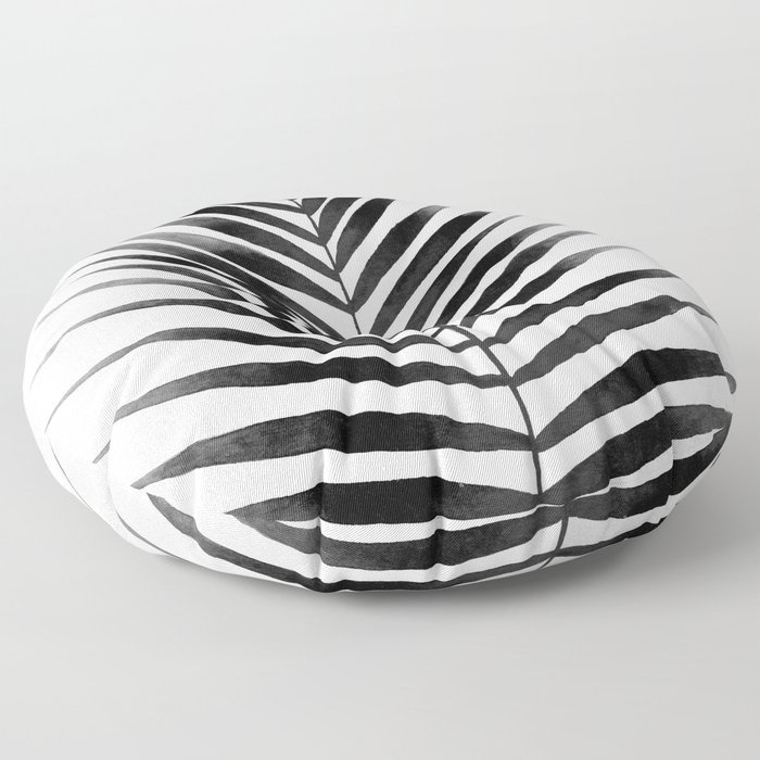 Palm Leaf Watercolor | Black and White Floor Pillow