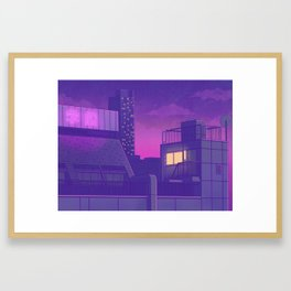 Shinjuku Night Lights Framed Art Print
