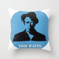tom waits Throw Pillows featuring Tom Waits Record Painting by All Surfaces Design