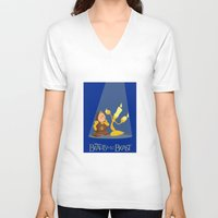 beauty and the beast V-neck T-shirts featuring Beauty and the Beast by TheWonderlander